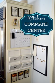 Kitchen Remodel Ideas Kitchen Command Center - Family Organization - Got room on the side of our refrigerator? Get organized with a few items from Homegoods, Staples, and Goodwill. a kitchen command center was born! Command Center Kitchen, Family Command Center, Command Centers, Kitchen Message Center, Organization Station, Organization Hacks, Bathroom Organization, White Board Organization, Family Organization Wall