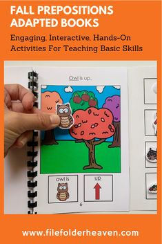 """These Fall Prepositions Adapted Books focus on the prepositions, """"in and out,"""" """"up and down,"""" and """"over and under,"""" and fall themed vocabulary words. This download includes 3 adapted books that provide lots of hands on practice for students who need work with positional concepts and words. 3 Adapted Books Included: """"Fall In and Out"""" """"Fall Over and Under"""" """"Fall Up and Down"""" Early Learning Activities, Hands On Activities, Activity Mat, File Folder Games, Preschool Themes, Prepositions, Vocabulary Words, Autumn Theme, Students"""