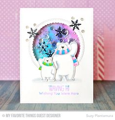 Handmade card from Suzy Plantamura featuring Birdie Brown Polar Bear Pals stamp set and Die-namics, Stitched Circle Scallop Frames Die-namics #mftstamps