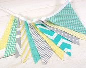 Bunting Fabric Banner, Fabric Flags, Nursery Decor, Photography Prop - Yellow, Gray, Teal Blue, Mint Green, Chevron, Dots - Ready to Ship