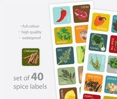 Set of 40 Spice Labels by pbprints on Etsy, $8.75