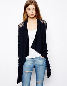 ASOS Waterfall Cardigan With Lace Shoulder Detail