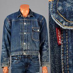 1940s Big E Levis Selvage Denim Jean Jacket with Belt Back Vintage Menswear Men's Fashion by StyleandSalvageMen