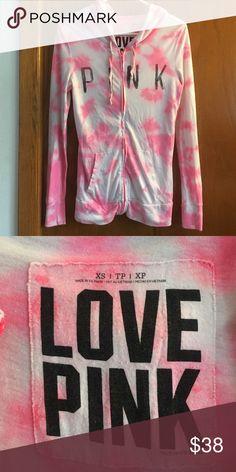 Pink light weight hoodie Size XS Tye dyed hot pink PINK Victoria's Secret Tops Sweatshirts & Hoodies