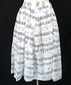 MUSIC NOTES Novelty Classical Musical Print A-Line Black & White Midi Skirt M #Unbranded #ALine