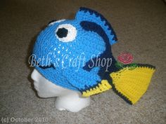Disney Finding Nemo Dory Crochet Hat MADE TO by bethscraftshop