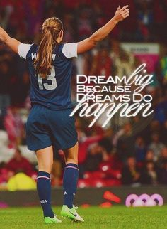 The first thing that comes to mind when I hear this phrase. Everyone has their own dreams. When you put forth the effort, strength, and determination you can make your dreams come true. With these traits, you can spread your wings and fly and accomplish even your wildest dreams. #SheFliesWithHerOwnWingsSoccer Quotes #Soccer #Quotes