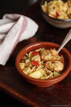 Thick soup with codfish balls, pasta and vegetables
