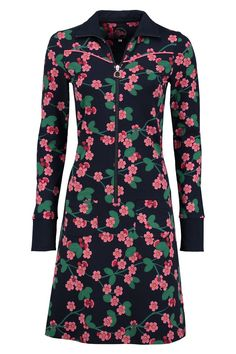Tante Betsy Dress Sporty Cherry Blossom Navy dark blue jurk kersen bloesem donker blauw
