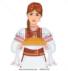 Young woman in Ukrainian national clothes with round loaf, eps10 - stock vector