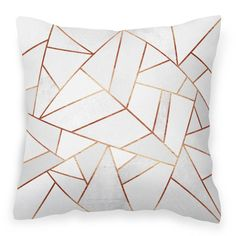 White Stone & Copper Geometric Faux Suede Cushion