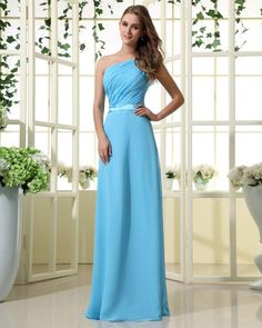 One Shouder Floor Length Chiffon Bridesmaid Dress with Droped bodice