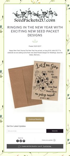Posted: Happy New Year! the New Year has arrived, so long hello To celebrate we are adding some fresh new Seed Packet designs for Weddings, Save the Dates, Memoria. 2017 Wedding Trends, Wedding 2017, Seed Wedding Favors, Seed Packets, Exciting News, Save The Date, Happy New Year, Seeds, Cards Against Humanity