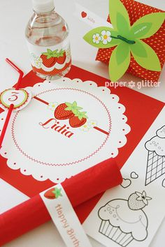 Strawberry Printable Party Kit with invitations by paperglitter, $14.95