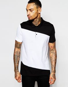 ASOS Polo Shirt With Cut & Sew Diagonal Panel