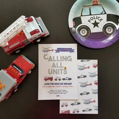 This personalized Emergency Cars invite is customized for your son's rescue vehicles birthday party and is great for any age birthday party Fourth Birthday, Birthday Thank You, Sons Birthday, Birthday Parties, Boy Birthday Invitations, Kids Party Themes, Birthday Images, Birthday Ideas, Firetruck