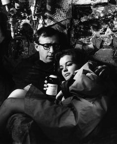 Woody Allen and Romy Schneider, What's New Pussycat, 1965 Romy Schneider, Woody Allen, Vanity Fair, Famous Duos, What's New Pussycat, Movie Co, Movie Makeup, Movie Shots, Portraits