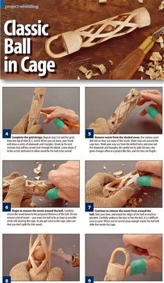Carving Ball in Cage - Wood Carving Patterns and Techniques | WoodArchivist.com/