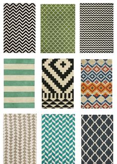 Cute & cheap wool rugs... do you like any of these?  i am kind of into the middle row right one, but then would have to be a little tamer on the curtains...