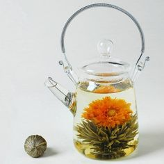 Glass Teapot with Screen Spout for Blooming Tea:
