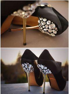 black heels rhinestones