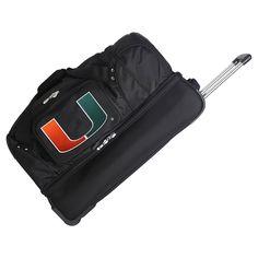 NCAA Miami Hurricanes 27'' Rolling Drop Bottom Duffel