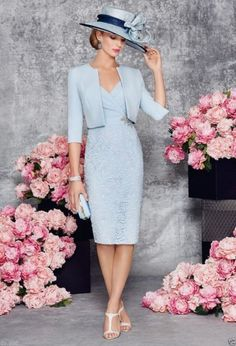 New Blue Mother Of The Bride/Groom Outfits Free Jacket Knee Length Formal Dress