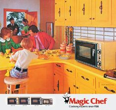Kitchen cabinets made of American cheese. Kitchen Board, Kitchen Tools, Kitchen Cabinets, Cooking Foil, Vintage Advertisements, Ads, Retro Appliances, Magic Chef, American Cheese