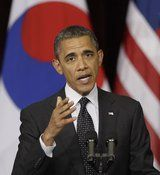 U.S. President Barack Obama delivers a speech at Hankuk University in Seoul, South Korea,TOPIC: He want to push reduction of nuclear arsenals..Monday, March 26, 2012. (AP Photo/Lee Jin-man)