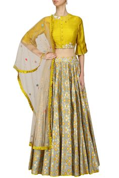I AM DESIGN presents Mint ikat printed skirt and mustard crop top set available only at Pernia's Pop Up Shop. Lehenga Designs, Kurta Designs, Blouse Designs, Western Dresses, Indian Dresses, Indian Outfits, Indian Clothes, Ethnic Fashion, Indian Fashion