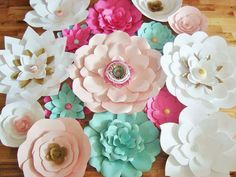15 Large Paper Flowers - Multicolour with gold accents |  Paper flower wall, paper flower backdrop, baby nursery decor, wedding backdrop