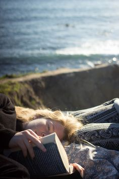 Reading in a beautiful place