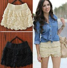 HOT! New Sexy Fashion Mini Lace Tiered Short Skirt Under Safety Pants Hot Products $9.06