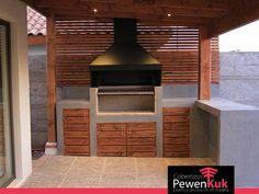 quincho cobertizo 2 Outdoor Bbq Kitchen, Backyard Kitchen, Outdoor Kitchen Design, Roof Design, House Design, Parrilla Exterior, Brick Bbq, Casa Patio, Outside Patio