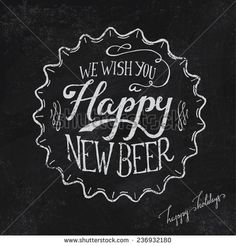 Unique handdrawn chalkboard decoration - Cool beer cap with Happy new beer message