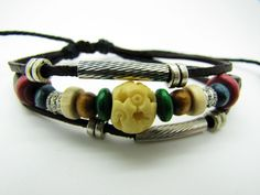 Real Soft Leather Bracelet Wood Beads Wristband by braceletcool, $8.00