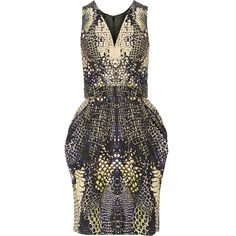 McQ Alexander McQueen Snake-print faille dress ($518) ❤ liked on Polyvore featuring dresses, vestidos, storm blue, loose dresses, loose fitting dresses, blue knee length dress, multi colored dress and snake print dress