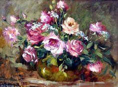 Fine Art-Hedi Moran MoranNew2004-Roses%20in%20Brass-18x24