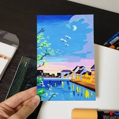 Kyoto' Kamo River side at night 🌃 I saw these white birds 🤔 Molotow Marker, Posca Marker, Marker Art, Gouache Illustrations, Art And Illustration, Watercolor Illustration, Gouache Painting, Painting & Drawing, Finger Painting