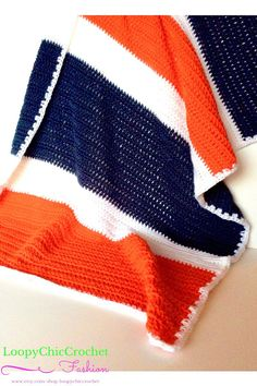 Orange Navy Blue and White Crochet Baby Blanket or Stadium Throw, Gift for Professional or College Football Fan, Warm Team Spirit Blanket