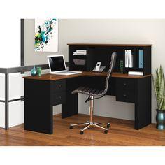 Bestar 45850-18 Somerville L-Shaped Desk with Hutch - Black / Tuscany Brown - 45850-18