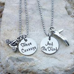 Jewerly - Necklace - Disney Necklace - Cindrella - Have Courage and Be Kind - Best Friend Necklace - Sister Necklace - Necklace Set - Gift