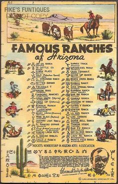Arizona Vintage Linen Postcard - Famous Ranches of Arizona (Unused) Vintage Arizona 1941 Linen Postc Vintage Travel Posters, Vintage Postcards, Vintage Ephemera, Wells, Danse Country, Agriculture, Arizona History, Charro, Cowboys And Indians