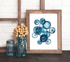 blue and white abstract watercolor print, indigo blue modern watercolor…