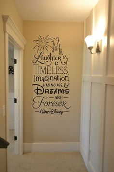 Laughter is timeless, imagination has no age and dreams disney wall decal vinyl lettering sticker home decor Walt Disney we do Disney. This is true vinyl. See photos for what this means. You will not have a clear film around the edges. The letters are all Walt Disney, Deco Disney, Disney Diy, Disney Crafts, Disney Theme, Disney Wall Decals, Vinyl Wall Decals, Disney Bedrooms, Disney Home Decor