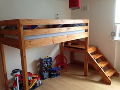 "loft bed plans do it yourself | Loft bed with stairs-Look up ""Camp Loft"""