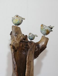 Alie van de Wolfshaar Clay Birds, Ceramic Birds, Ceramic Pottery, Driftwood Projects, Little Birdie, Small Birds, Bird Houses, Sculpture Art, Sparrows