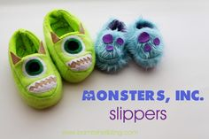 These Monsters Inc Slippers are TO DIE FOR cute!!!  Free tutorial! #disney #disneyside