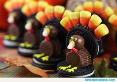 Creative Thanksgiving Food - candy corn and Oreo turkeys.... Not American but there look good, Oreos, Maltesers, Reece's minis and candy corn, whatever that is :)