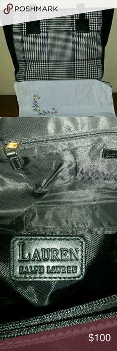 Selling this Ralph Lauren large suede bag. Houndstooth pattern on Poshmark! My username is: lilbunnyfoofoo. #shopmycloset #poshmark #fashion #shopping #style #forsale #Ralph Lauren Black Label #Handbags